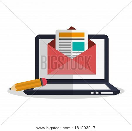 computer with instant messaging related icons image  vector illustration design
