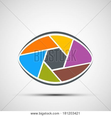 Logo human eye in the form of lens. Aperture shutters. Stock vector illustration.