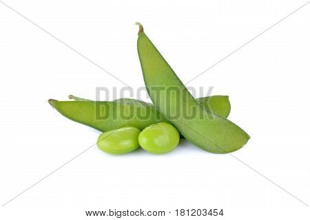 boiled Japanese green soybeans (Edamame-Japanese text) on white background