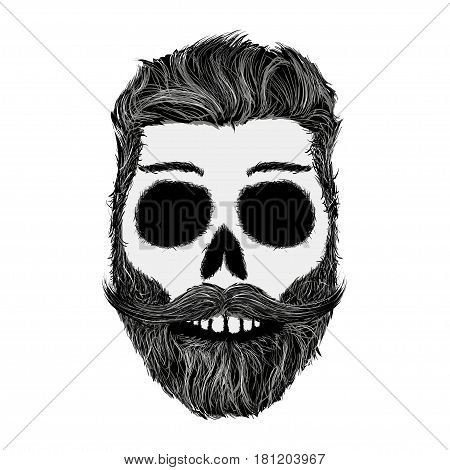 Sketch of human skull with a mustache and beard. Hipster style. Stock vector illustration.