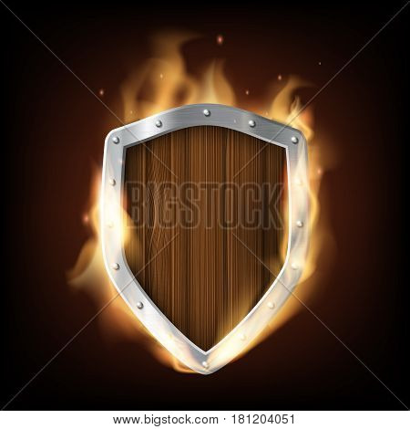 icon military wooden shield is burning. Isolated on a black background. Stock vector illustration.