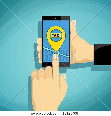 Man calls taxi on a smartphone. Stock Vector cartoon illustration.