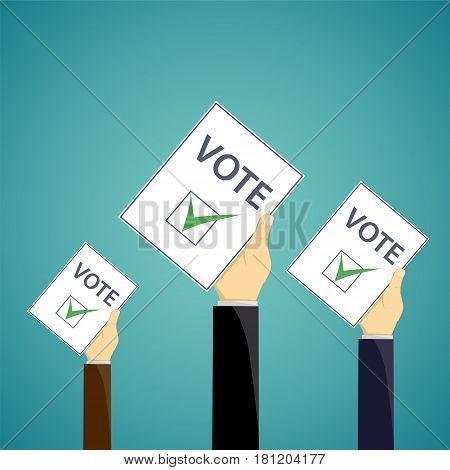 Human hand with a ballot paper. Election Day. Stock vector illustration.