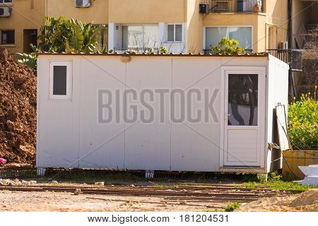 Trailer. Temporary houses for worker near construction place.