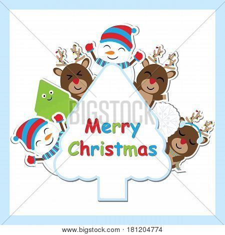Cute deer, snowman and Xmas tree vector cartoon on tree frame for Xmas postcard, wallpaper, and greeting card, vector illustration