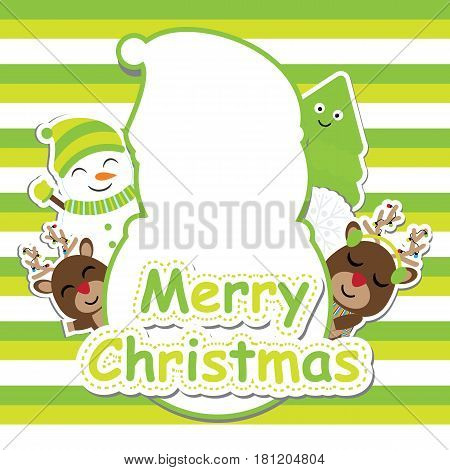 Cute deer, snowman and Xmas tree vector cartoon on green striped background for Xmas postcard, wallpaper, and greeting card, vector illustration