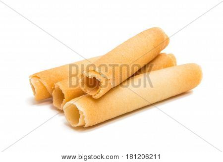 Biscuit rolls confectionery isolated on white background