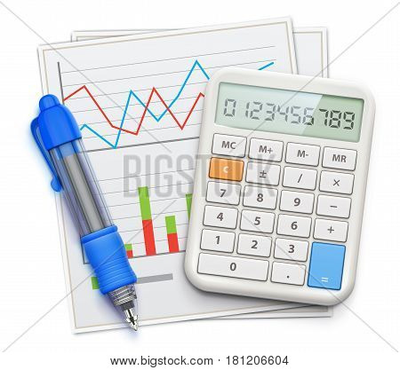 Vector illustration of business concept with finance graphs blue ballpoint pen and electronic calculator