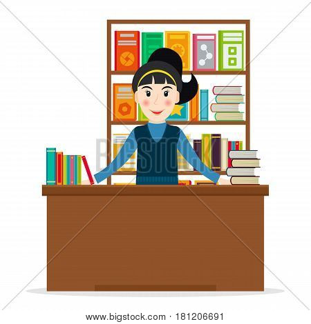 Female bookseller at the counter against shelves with books in flat style. Vector illustration of smiling woman selling books at the bookstore or librarian at the library.