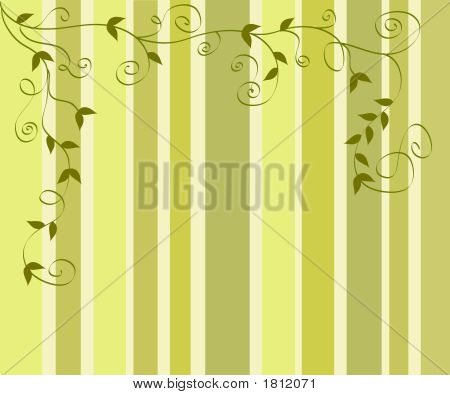 Artistic foliage design on shades of green stripes poster