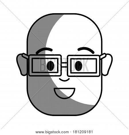 silhouette happy man with bald head and glasses, vector illustration design