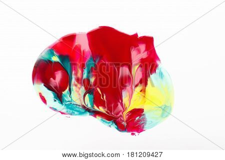 Creative abstract print, modern art, creativity, abstractionism. Curlicue of mixed vibrant paints, bright red, yellow and cyan colors isolated on white background.