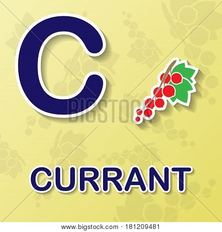 Red currant symbol with letter C and word