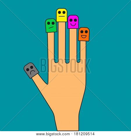 Hand with smiley face on fingers. Icon emotional control. Vector illustration.