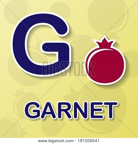 Garnet symbol with letter G and word