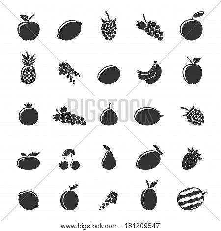 Set of gray fruit icons isolated on white background