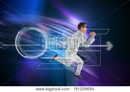 Geeky happy businessman running mid air against purple light beams over skyscrapers