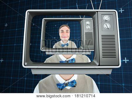 Digital composite of Happy freak men with tv head