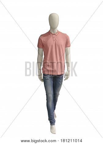 Full-length male mannequin dressed in casual clothes. Isolated on white background. No brand names or copyright objects.