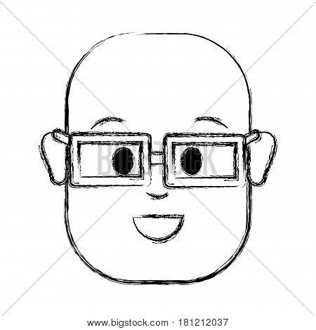 contour happy man with bald head and glasses, vector illustration design