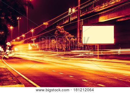 night road street light with high speed car trail light.