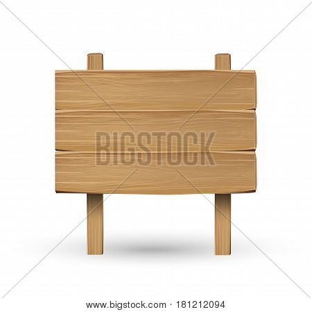 real wood board sign on a white background