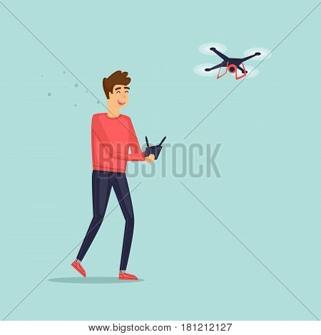 Man flying drone quadrocopter. Character design. Isolated. Flat design vector illustrations.