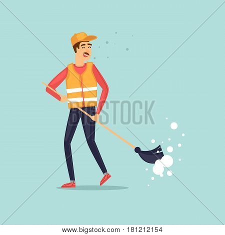 Garbage collector with a broom. Character design. Flat design vector illustration.