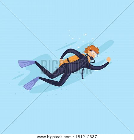 Scuba diving. Man wearing diving suit. Isolated. Extreme sport. Flat design vector illustrations.