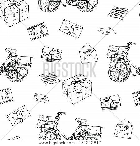 Postal Service. Mail Delivery. Seamless Pattern with Bicycles, Envelopes, Parcels and Letters. Black and White Line Art Illustration