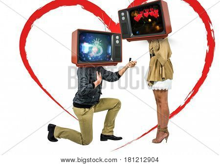 Digital composite of A men asking a woman to married him. tv head.
