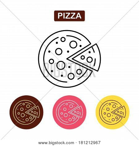 Pizza icon fast food logo. Traditional Italian food sign. Bakery products image. Outline vector illustration. Trendy vector Illustration isolated for graphic web design for confectionery shop or cafe