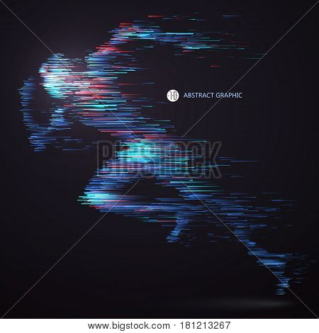 Running people composed of colored lines,Technology graphic design.