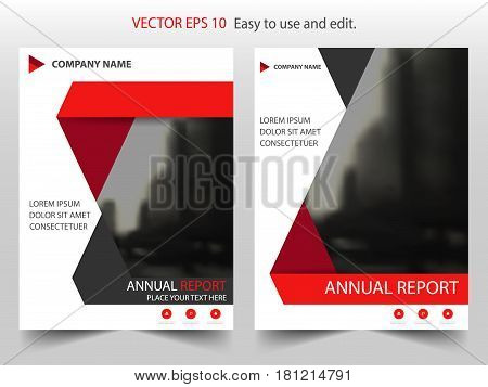 Red black abstract triangle annual report Brochure design template vector. Business Flyers infographic magazine poster.Abstract layout template Book Cover presentation portfolio.