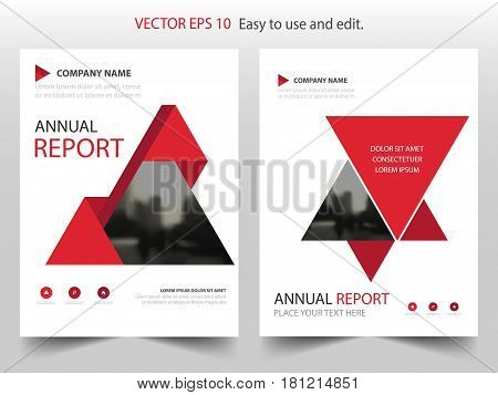 Red abstract triangle annual report Brochure design template vector. Business Flyers infographic magazine poster.Abstract layout template Book Cover presentation portfolio.