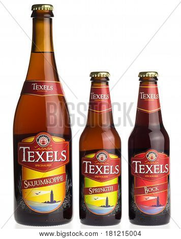 GRONINGEN, NETHERLANDS - APRIL 7, 2017: Large and small bottles of dutch Texels craft beer isolated on a white background