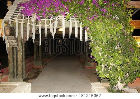 The sidewalk with wooden arches and a hedge of flowers. Design walking areas