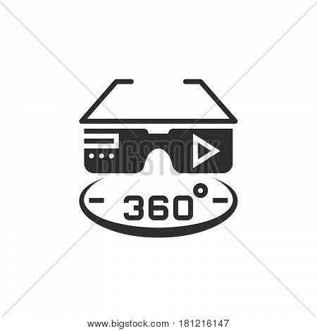 360 Degree Vr Glasses Icon Vector, Solid Logo Illustration, Pictogram Isolated On White