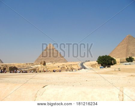 The Egyptian pyramids and the Great Sphinx from a distance