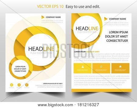 Yellow circle annual report Brochure design template vector. Business Flyers infographic magazine poster.Abstract layout template Book Cover presentation portfolio.