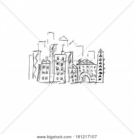 City. Vector illustration. Doodle art. Freehand outline ink hand drawn picture object sketch.