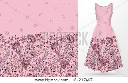 Vertical seamless fashion background. Women's dress mock up with pink fantasy flowers and butterflies. Seamless hand drawn pattern for textile, paper print. Isolated colorful dress. vector
