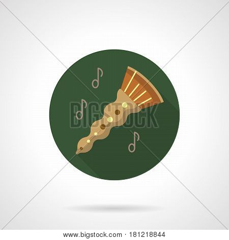 Abstract oboe with notes. Melody of woodwind music instrument. Round color flat design vector icon.