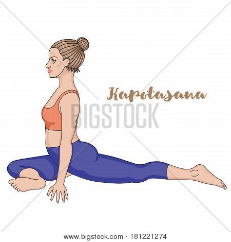 Women silhouette. Pigeon Yoga Pose. Kapotasana Vector illustration