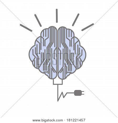 vector brain idea when recharge plug flat design
