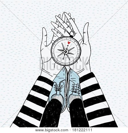 Couple searching concept. Girl with love compass. Cute hand drawn illustration