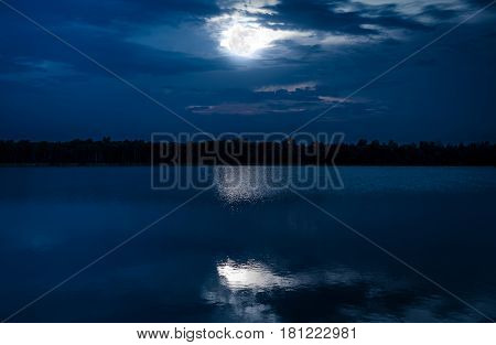 Full Moon With Reflection In Sea. Beautiful Nature Background.