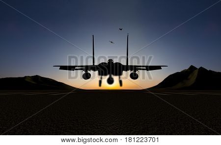 f15 jet fighter silhouette on the sunset