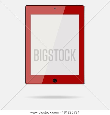 The tablet is red. Flat design vector illustration vector.