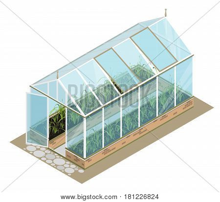 Isometric greenhouse with glass walls, foundations, gable roof, garden bed, white background. Vector horticultural conservatory for growing vegetable, flowers. Classic cultivate greenhouse gardening.